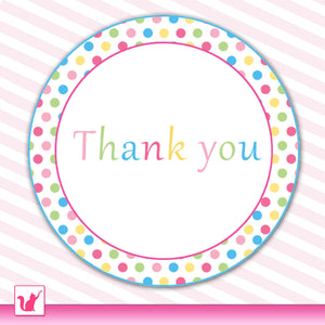 Polka Dots Thank You Labels Pink Blue Birthday Baby Shower Printable
