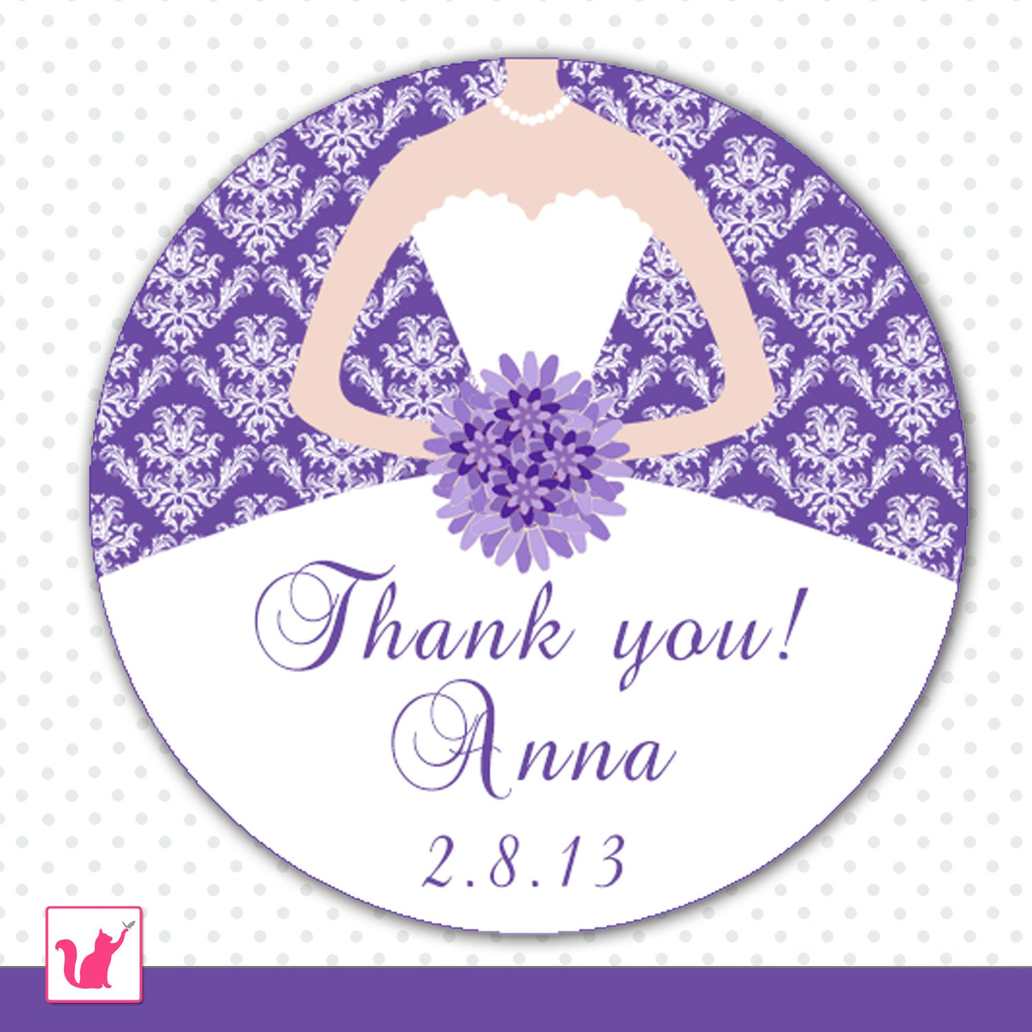 purple damask bridal shower tag favor label sticker quinceanera sweet 16