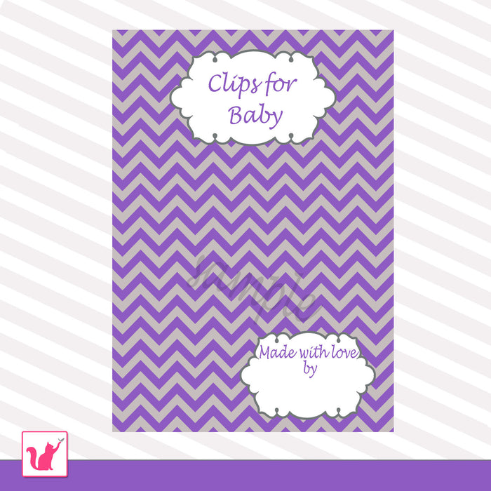 Clips For Baby Card Purple Chevron Grey