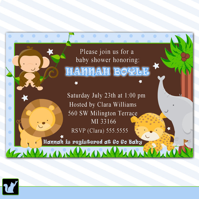 Jungle Baby Boy Shower Invitation Blue Brown