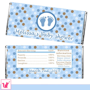 Candy Bar Wrapper Label Baby Shower Blue Brown