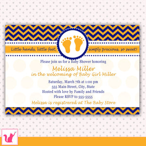 blue orange feet baby shower invitation