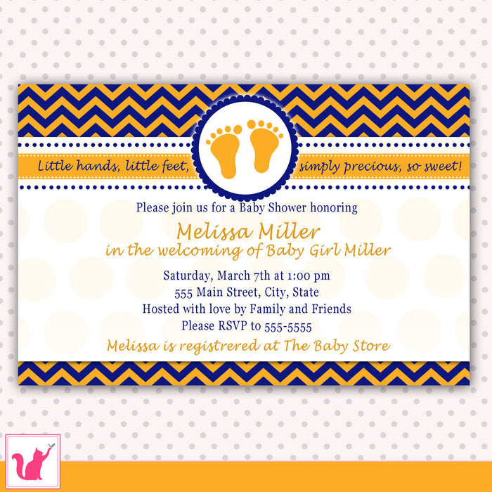 Blue Orange Feet Chevron Baby Shower Invitation Unisex