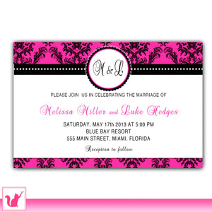 hot pink black wedding invitation