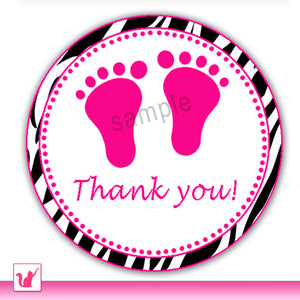 Footprints Baby Shower Favor Label Sticker Zebra Hot Pink Printable