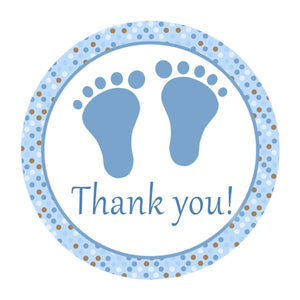 Footprints Baby Shower Favor Labels Blue Brown