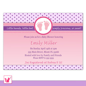 purple pink baby shower invitation