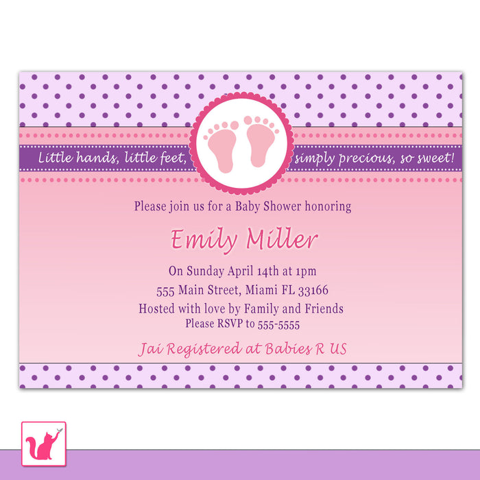 Purple Pink Invitation Baby Girl Shower Feet Polka Dots