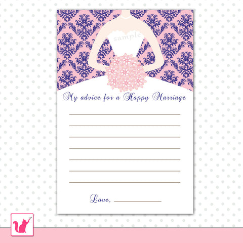 Damask Pink Blue Bridal Shower Advice Card