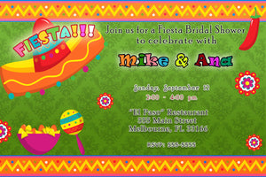 Mexican Fiesta Bridal Shower Invitation Green Printable