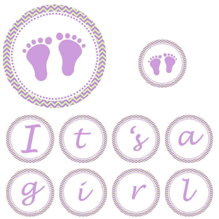 Baby Shower Banner Its a Girl Feet Lime Purple