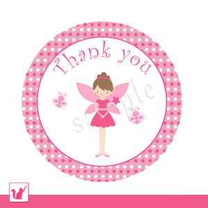 Printable Cute Pink Fairy Pixie Thank You Tag Label - Circle Hot Pink Polka Dots Girl Baby Shower Birthday Party Personlalized