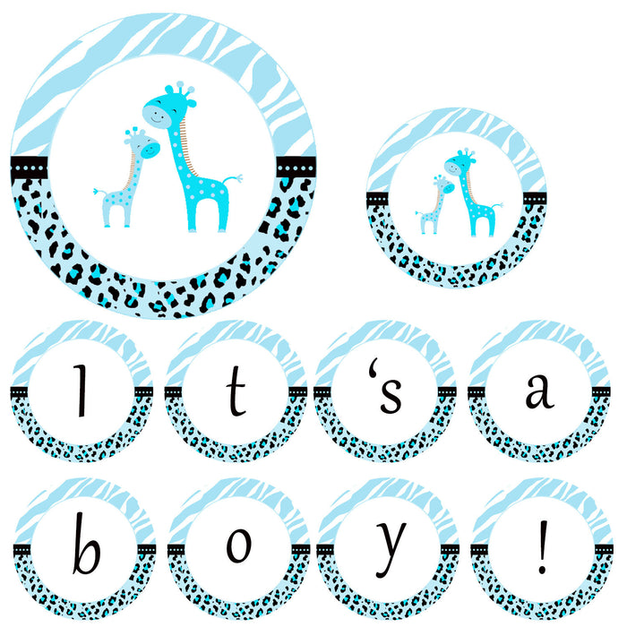 Blue Giraffe Baby Shower Banner