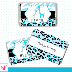 Giraffe Mini Candy Bar Labels Baby Boy Shower Turquoise Blue