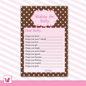 Wishes for Baby Card Polka Pink Brown