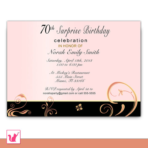 Adult Birthday Invitation Coral Pink Floral