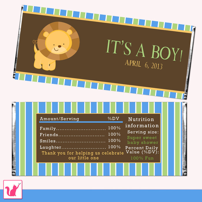 Lion Candy Bar Wrapper Label Birthday Baby Shower