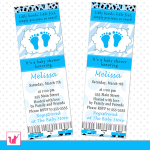 zebra blue feet invitation