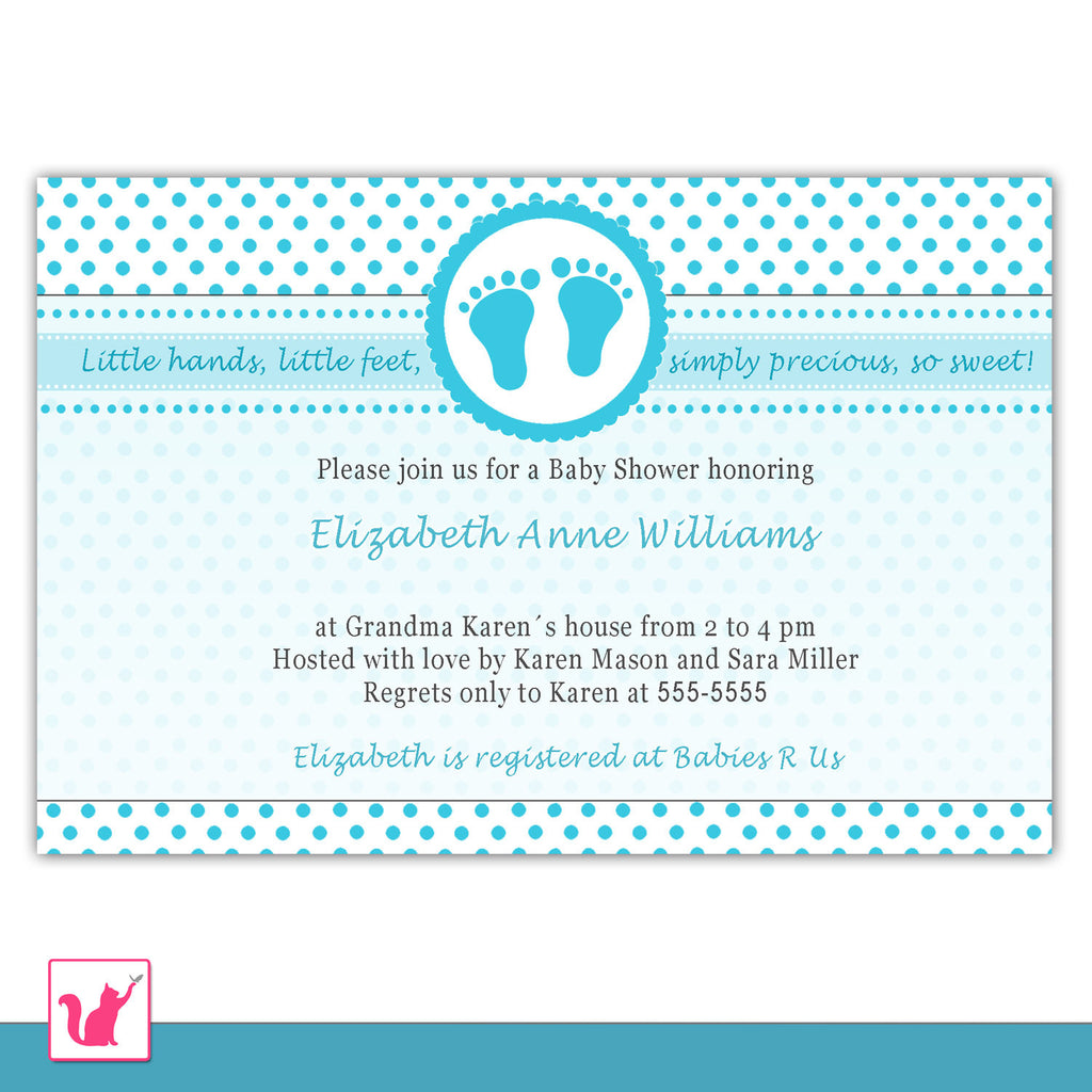turquoise polka dot baby shower invitation