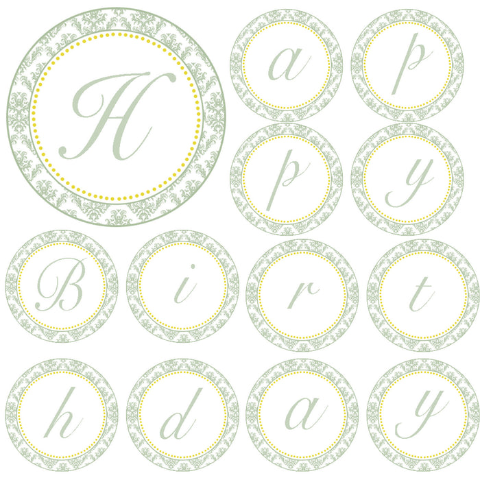 Damask Birthday Banner Green Yellow
