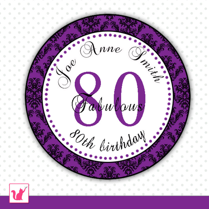 Purple Damask Adult Birthday Tag Favor Label Sticker
