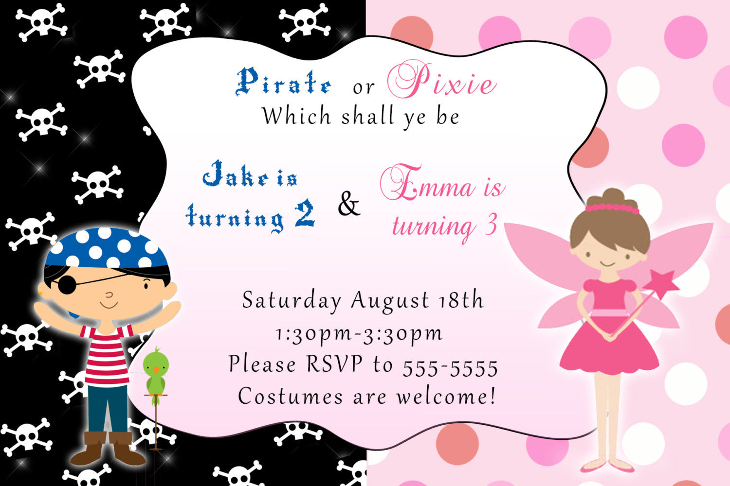 Fairy Pirate Invitation Kids Birthday Girl Boy – Pink The Cat