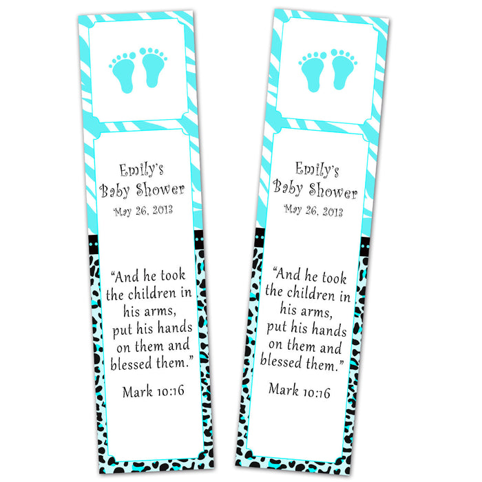 Turquoise Zebra Bookmark Favor Unisex Baby Shower