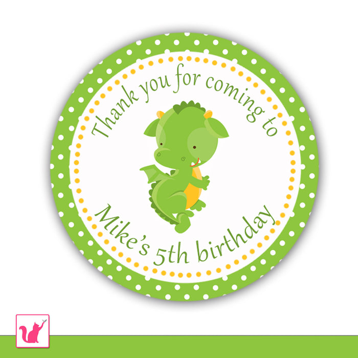 Green Dragon Thank You Tag Label Sticker Favor Baby Shower Birthday