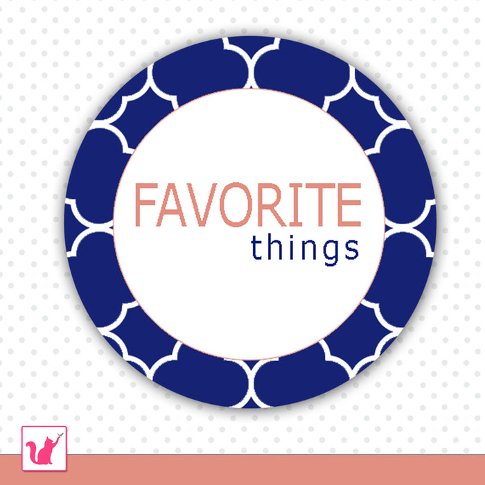 Blue Favorite Things Favor Label Tag Sticker Printable