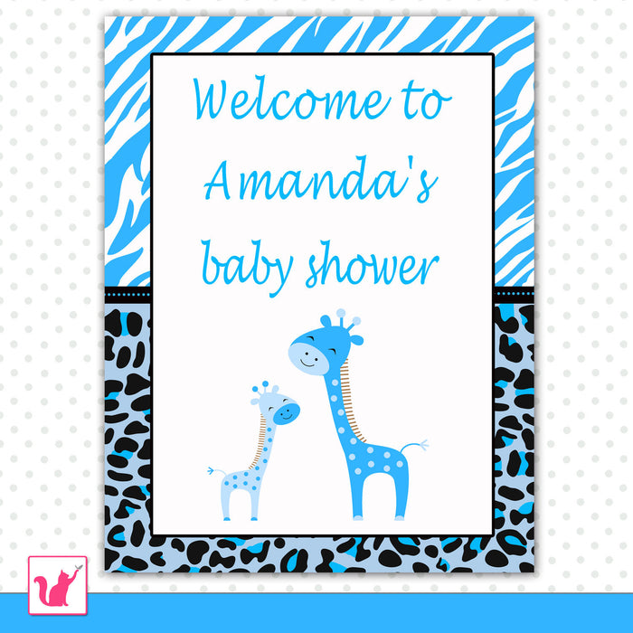 Blue Giraffes Welcome Sign Baby Boy Shower