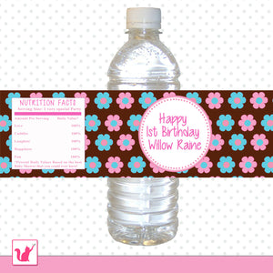 Floral Hippie Boho Bottle Label Birthday Baby Shower