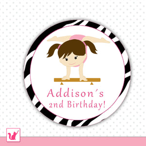 Gym Sports Girl Birthday Tag Party Favor Label Sticker Tag