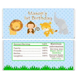 Blue Jungle Candy Bar Wrapper Label Birthday Baby Shower