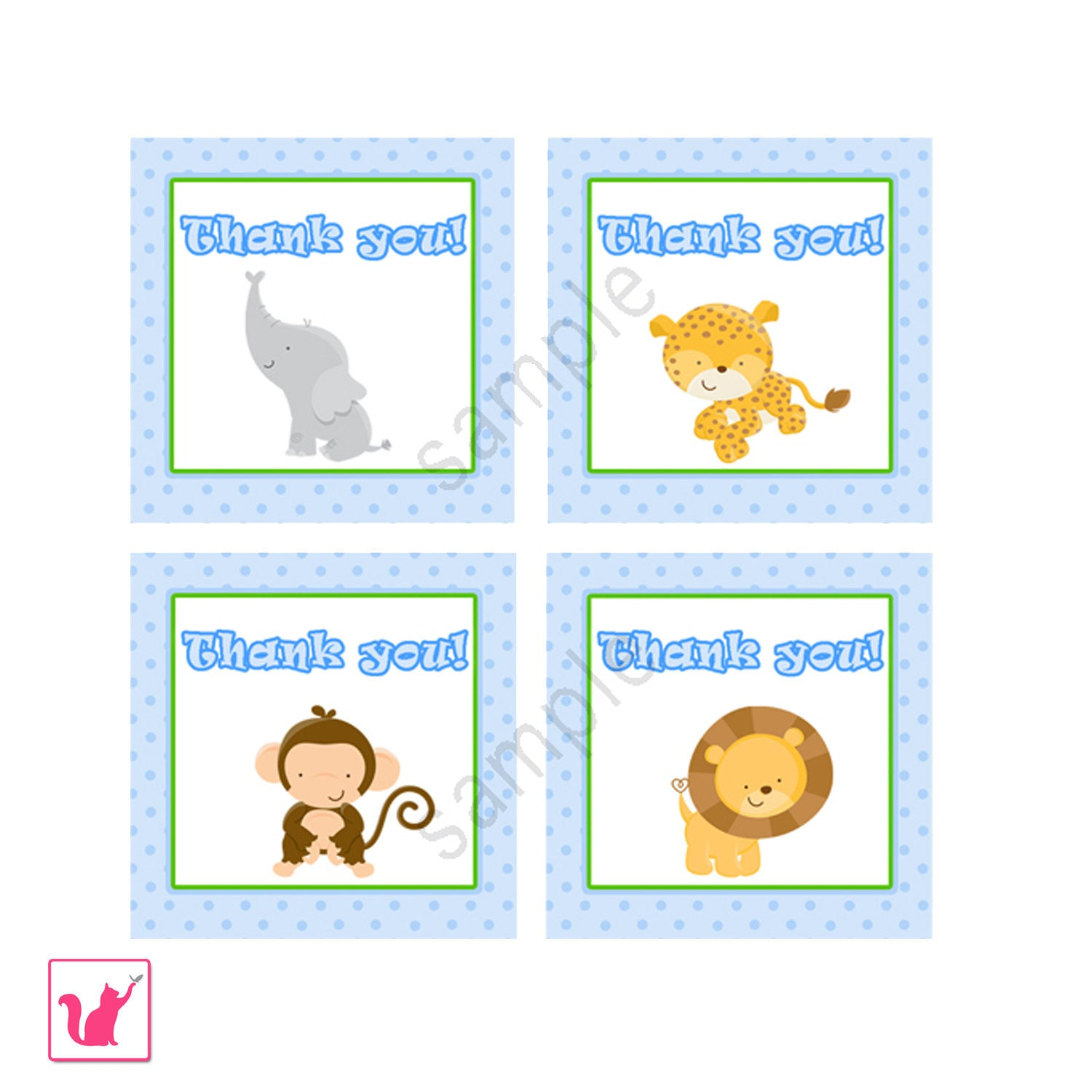 Instant Download Jungle Thank You Tags Party Favors Printable