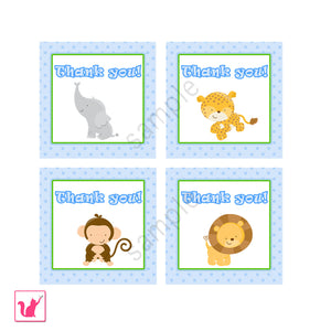 INSTANT DOWNLOAD Jungle Thank you Tags Party Favors Printable - Safari Zoo Baby Shower Boy Monkey Lion Animals Zebra Elephant Blue Label