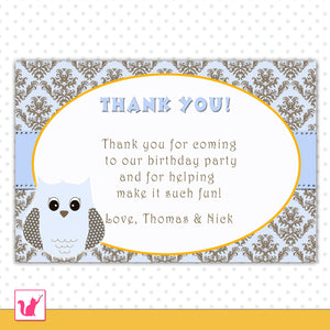 Owl Thank You Card Note Baby Shower Birthday Blue Gold