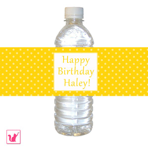 Yellow Polka Dots Bottle Label Birthday Baby Shower