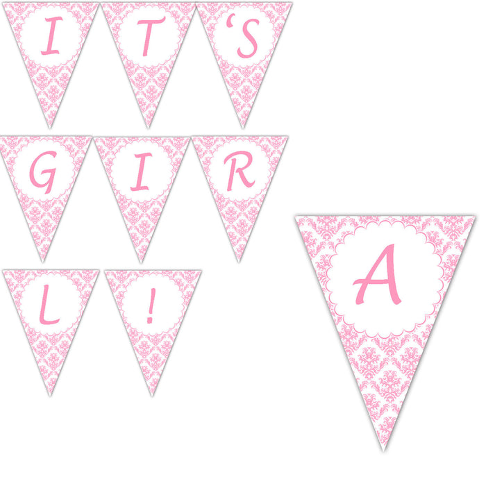 Pink Damask Baby Girl Shower Banner