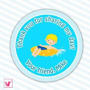 Summer Pool Party Thank You Tag Label Sticker Kids Birthday