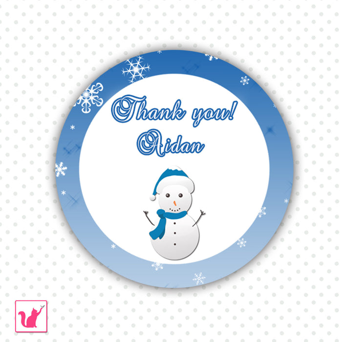 Winter Snowman Thank You Tag Favor Label Birthday Baby Shower Blue