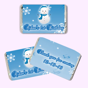 Blue Winter Mini Candy Wrapper Snowflakes Birthday
