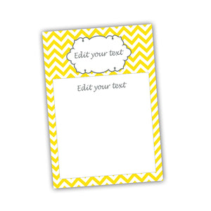 Yellow Chevron Blank Invitation Thank You Card Bridal Baby Shower Birthday