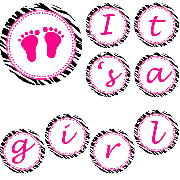 Hot Pink Zebra Baby Girl Shower Round Banner