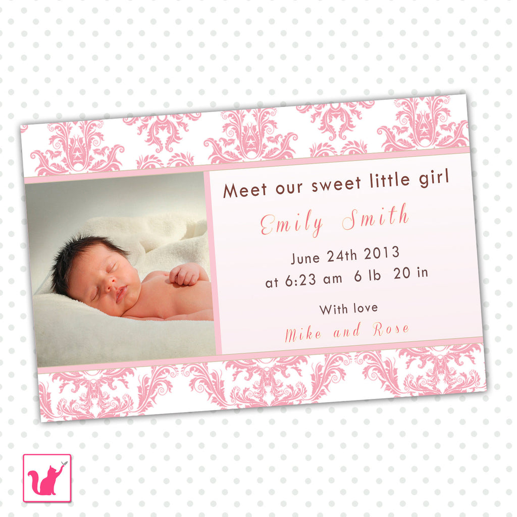 Girl Baby Birth Announcement Photo Card Pink Damask
