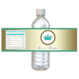 Gold Green Prince Bottle Label Birthday Baby Shower