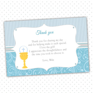 Boy First Holy Communion Thank You Card Note Blue Grey Chalice
