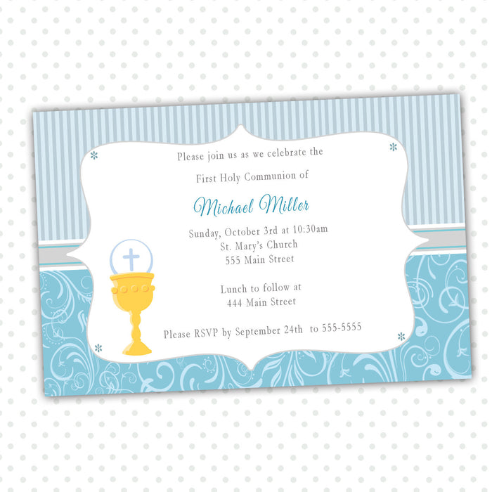 Boy 1st Holy Communion Invitation Blue Grey Swirl Stripes