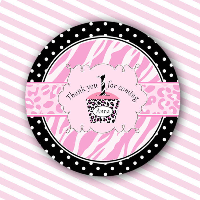 Diva Zebra Girl Birthday Thank You Tag Label Sticker Pink Black