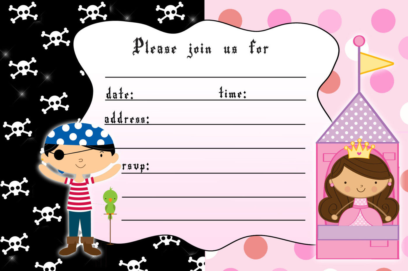 Pirate Princess Invitation Fill In The Blanks Kids Birthday Printable Pink Cat