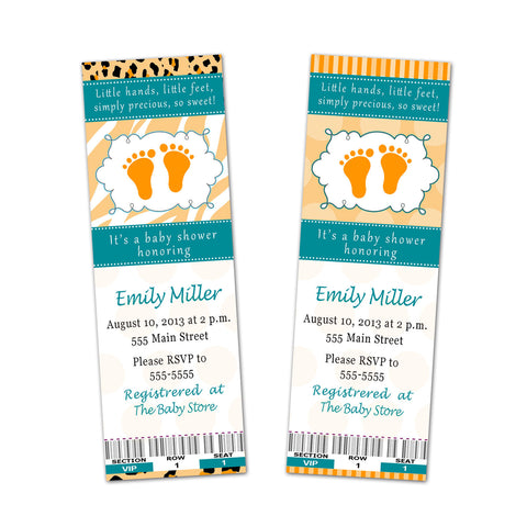 Baby Shower Ticket Invitation Orange Teal Unisex